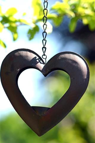 iPhone Wallpaper Love heart, decoration, chain