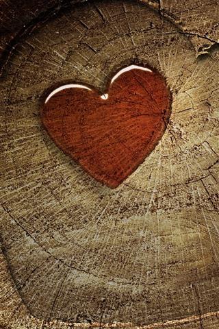 iPhone Wallpaper Love heart, stump, texture