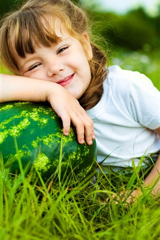 iPhone Wallpaper Lovely little girl and watermelon, grass, meadow