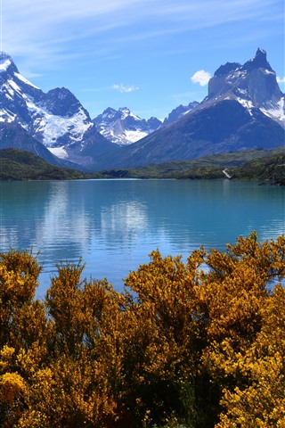 iPhone Wallpaper Mountains, trees, lake, autumn, nature landscape