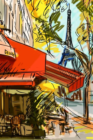 iPhone Wallpaper Paris, cafe, drawing, art