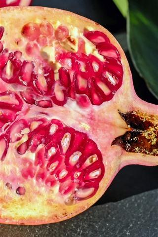 iPhone Wallpaper Pomegranate, fruit, green leaf