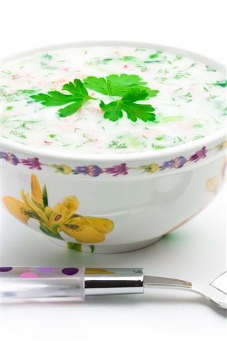 iPhone Wallpaper Porridge, spoon, white background