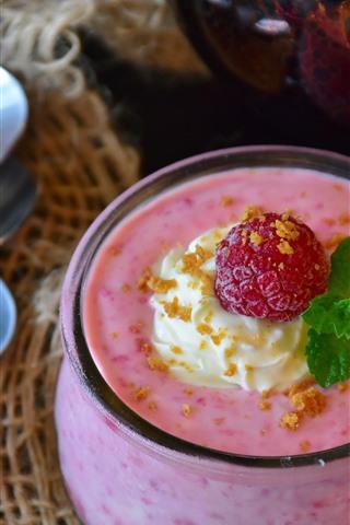 iPhone Wallpaper Raspberry, dessert, ice cream, flower, spoon