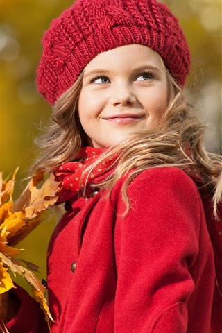 iPhone Wallpaper Red coat girl, smile, hat, maple leaves