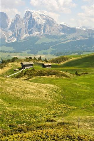 iPhone Wallpaper Summer, mountains, hut, green grass