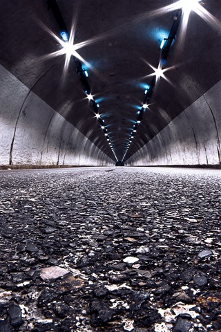 iPhone Wallpaper Tunnel, lights, road