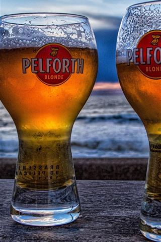 iPhone Wallpaper Two cups beer, sea, dusk