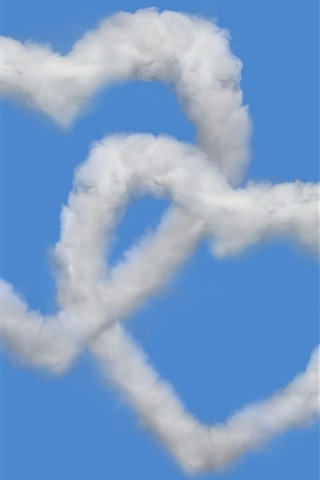 iPhone Wallpaper Two love heart, clouds, blue sky