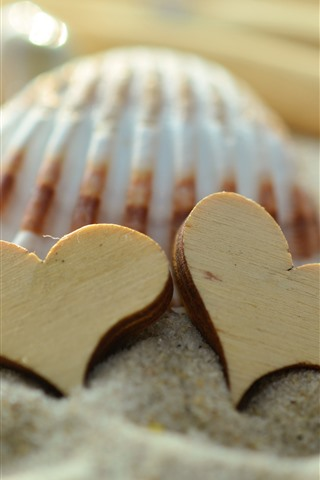 iPhone Wallpaper Two love hearts, sands, shell