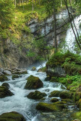 iPhone Wallpaper Waterfalls, stones, trees, moss