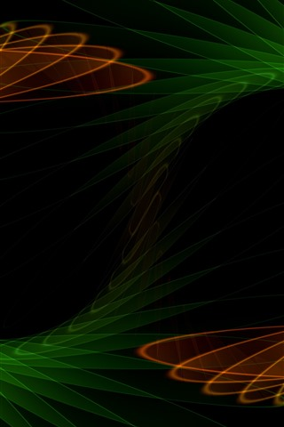 iPhone Wallpaper Abstract fractal, green and orange, black background