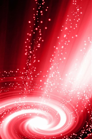 iPhone Wallpaper Abstract galaxy, red spiral, light rays, shine