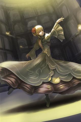 iPhone Wallpaper Beautiful dancing girl, blonde, fantasy, art picture