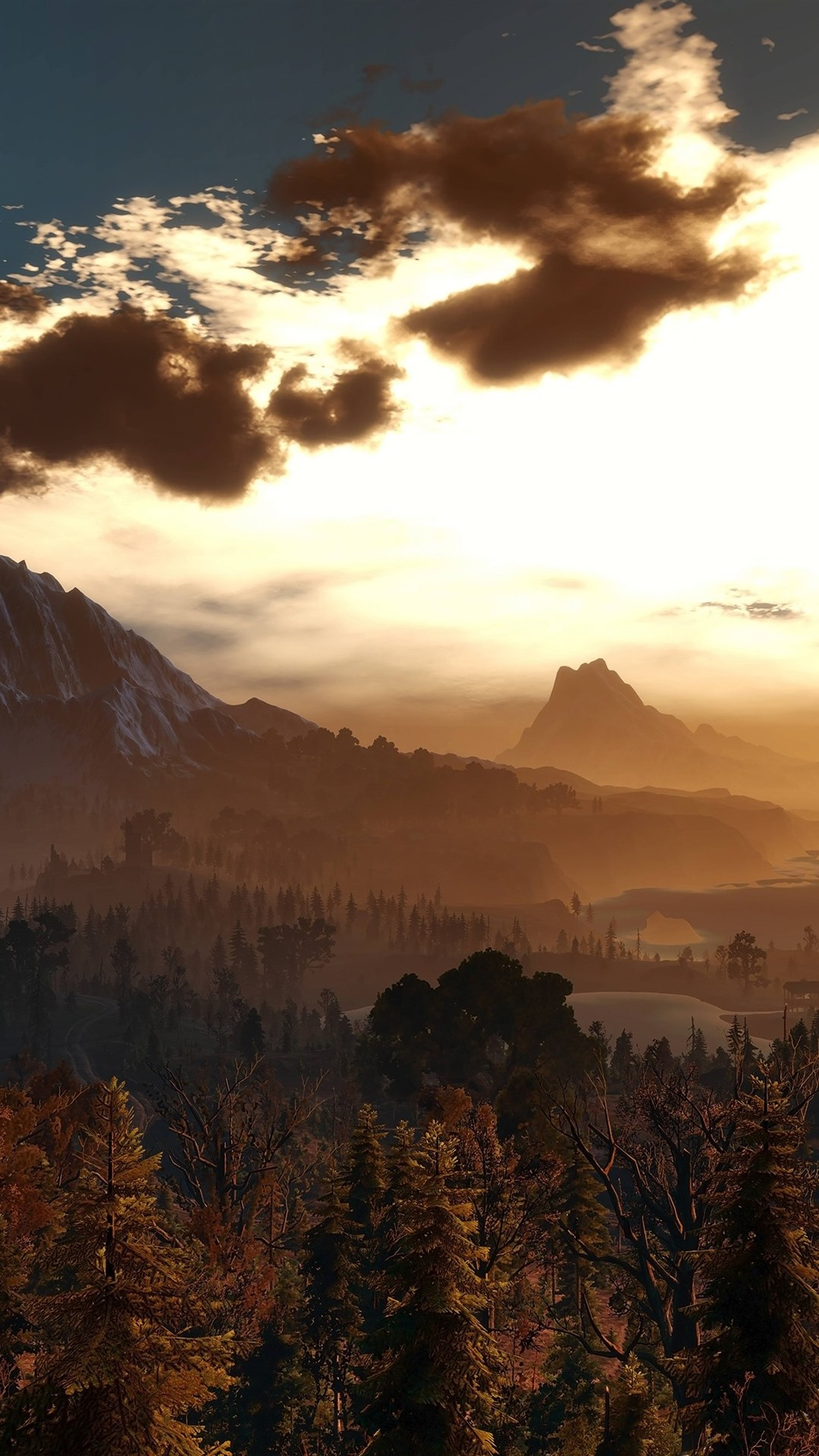 Beautiful nature landscape, sunset, trees, mountains, birds ...