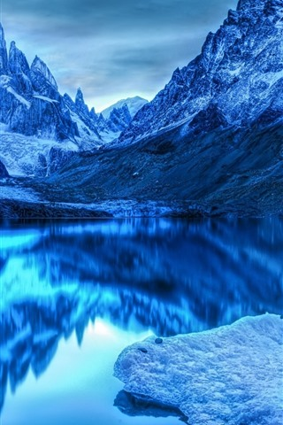 iPhone Wallpaper Blue style, mountains, lake, clear water, water reflection, snow, dusk