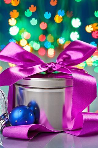 iPhone Papéis de Parede Natal, presente, bolas, luzes coloridas