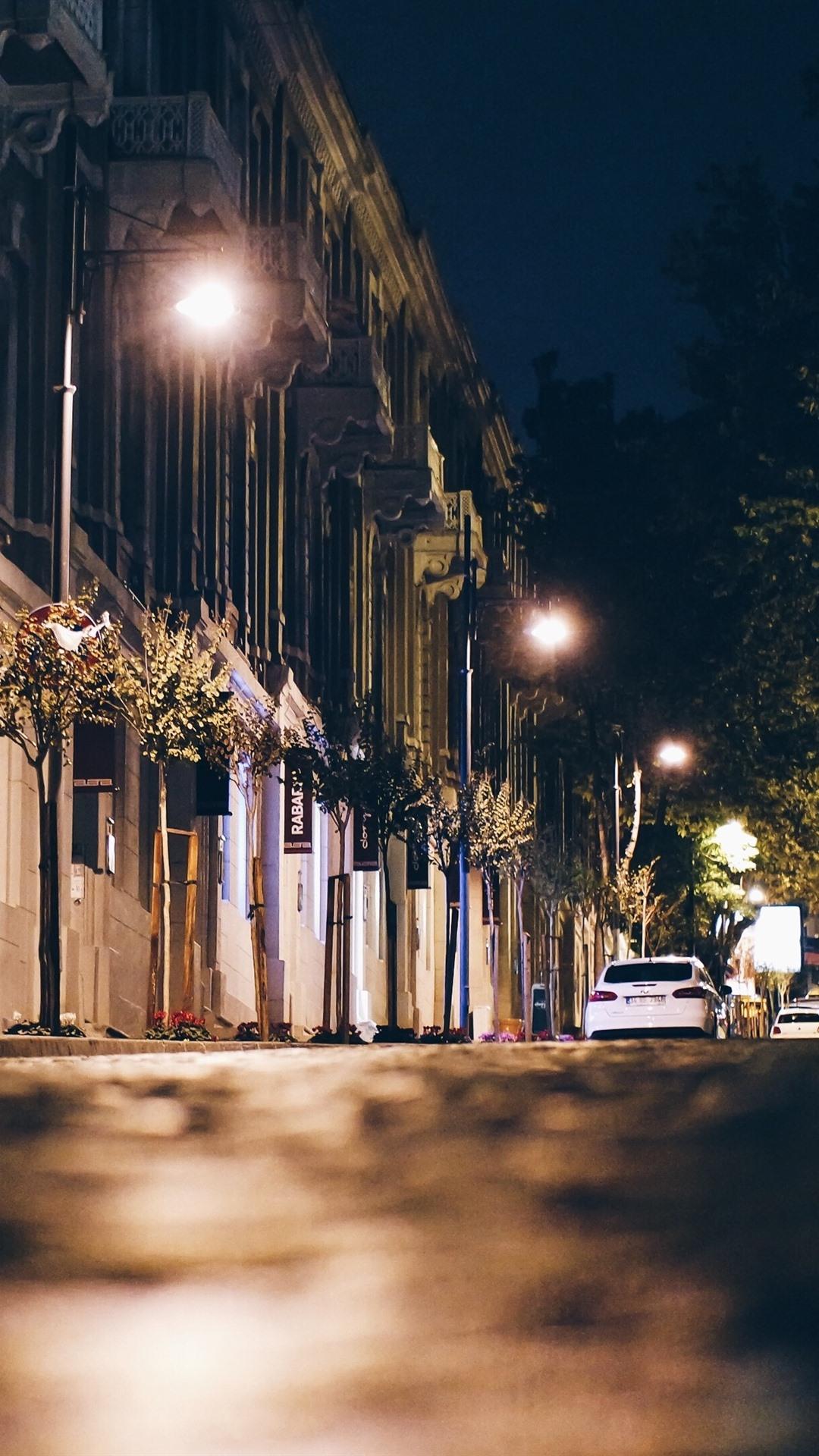 Обои cars, улица, дома, ночь, машины, свет. Города foto 11