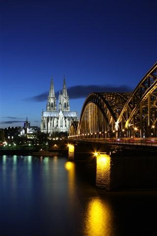 iPhone Wallpaper Germany, bridge, lights, river, night