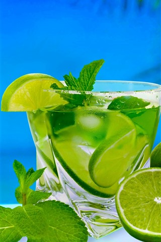 iPhone Wallpaper Green lemon, lime, cocktail, drinks, sea, tropical