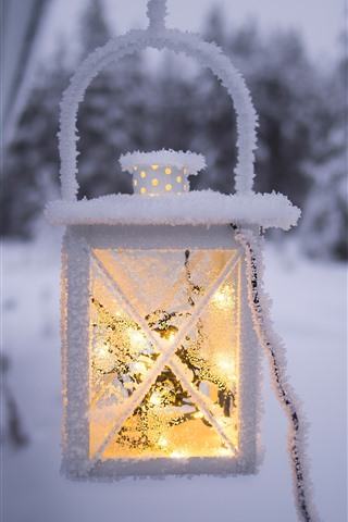 iPhone Wallpaper Light, lantern, snow, frost, winter