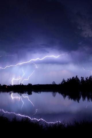 iPhone Wallpaper Lightning, lake, storm