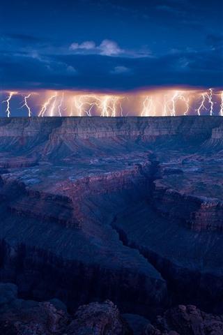 iPhone Wallpaper Lightning, rocks, clouds, storm