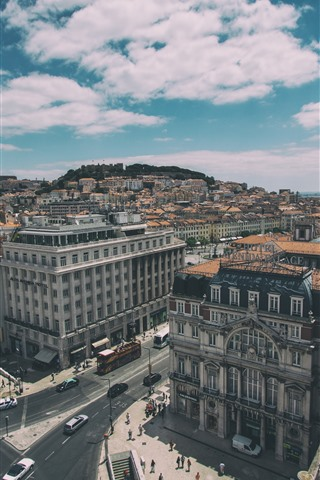 iPhone Wallpaper Lisbon, Portugal, top view, city, houses, cars, roads