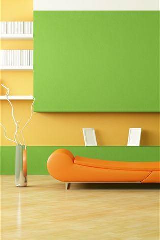 iPhone Wallpaper Minimalist room, sofa, lamp, orange and green style, interior design