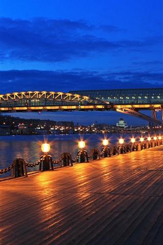 iPhone Wallpaper Moscow, night, bridge, river, lights, Russia