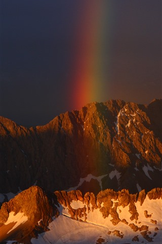 iPhone Wallpaper Mountain, snow, rainbow
