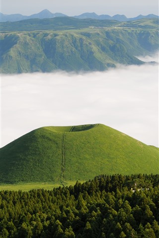 iPhone Wallpaper Mountains, forest, green, fog, Kumamoto, Somme, Japan