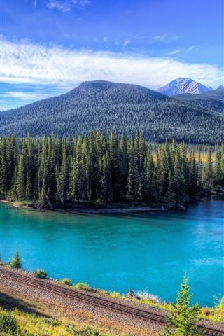 iPhone Wallpaper Mountains, trees, railroad, lake, blue sky