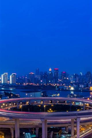 iPhone Wallpaper Nanpu Bridge, lights, night, river, road, city, Shanghai