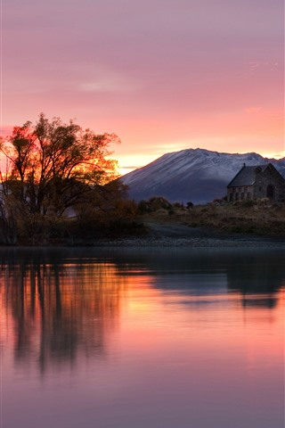 iPhone Wallpaper New Zealand, lake, mountains, sunset, house, trees