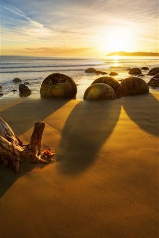 iPhone Wallpaper New Zealand, sea, stones, sunset, rocks, beach