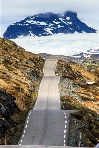 iPhone Wallpaper Norway, road, snow, mountains, winter
