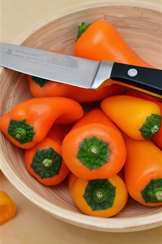 iPhone Wallpaper Orange peppers, bowl, knife