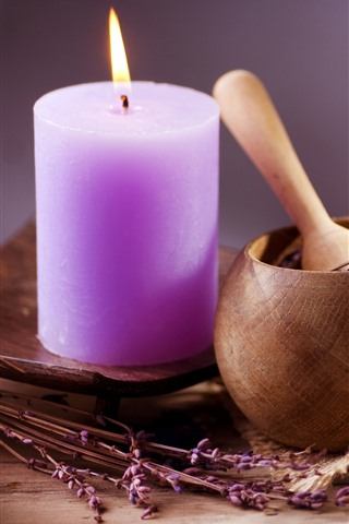 iPhone Wallpaper Purple candle, fire, flowers, still life