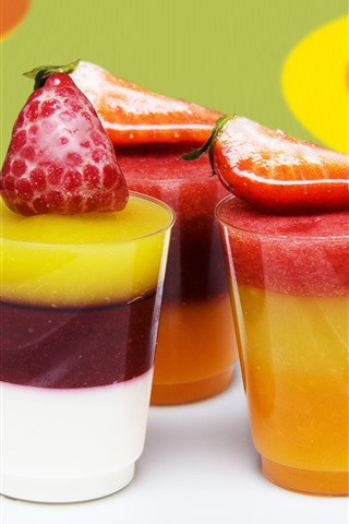 iPhone Wallpaper Smoothies, three cups, colorful