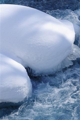 iPhone Wallpaper Snow, water, ice, foam, winter