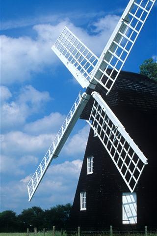 iPhone Wallpaper Windmill, fields, blue sky, clouds