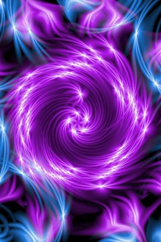 iPhone Wallpaper Abstract flower, purple and blue, fractal
