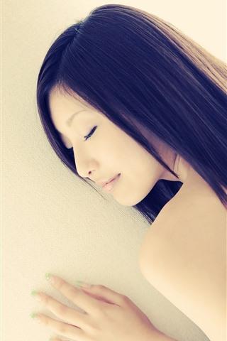 iPhone Wallpaper Asian girl, long hair, sleep