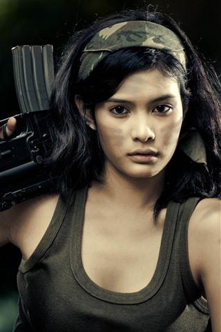 iPhone Wallpaper Asian girl, rifle, gun