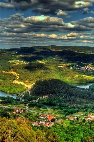 iPhone Wallpaper Beautiful countryside, village, hills, river, green