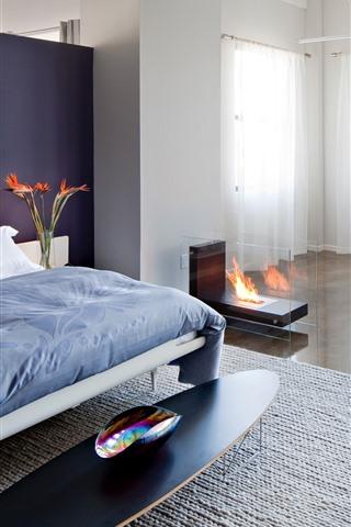 iPhone Wallpaper Bedroom, bed, fire, chair, window