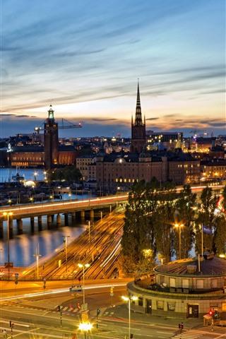 iPhone Wallpaper City night view, river, bridge, roads, lights, Stockholm, Sweden