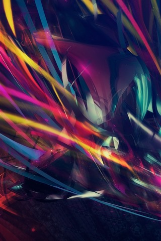 iPhone Wallpaper Colorful lines, abstract, creative design