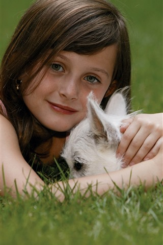 iPhone Wallpaper Cute little girl and white dog, grass